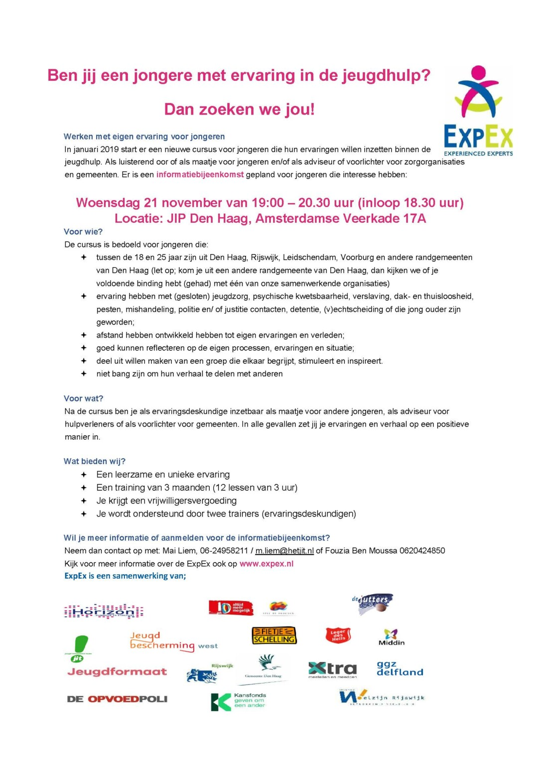 Flyer ExpEx Haaglanden training 2018