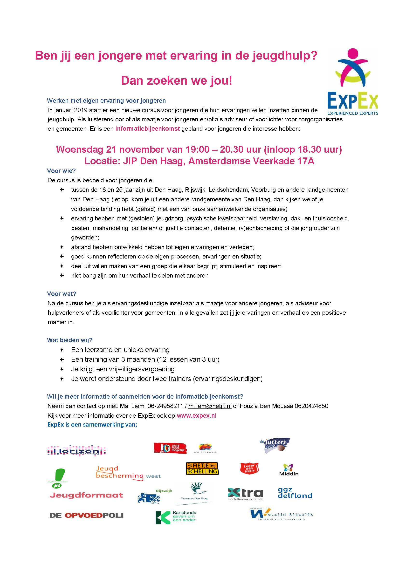 Flyer ExpEx Haaglanden training 2018